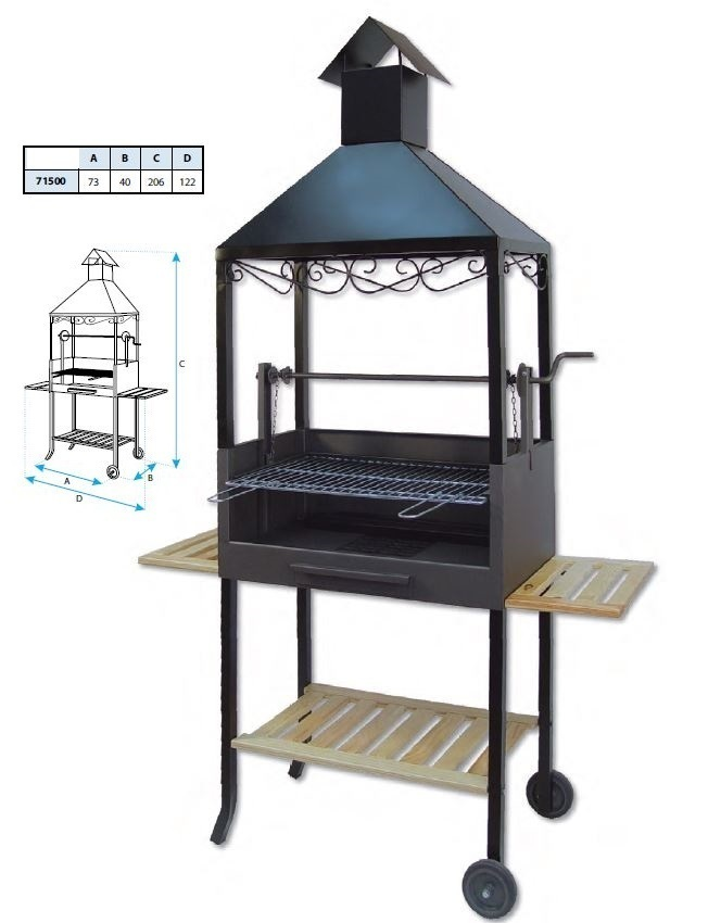 barbecue argentin chemin e grille avec support manivelle chariot. Black Bedroom Furniture Sets. Home Design Ideas