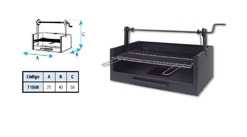 Barbecue avec grille traditionnelle sur support de relevage à manivelle L 73 cm